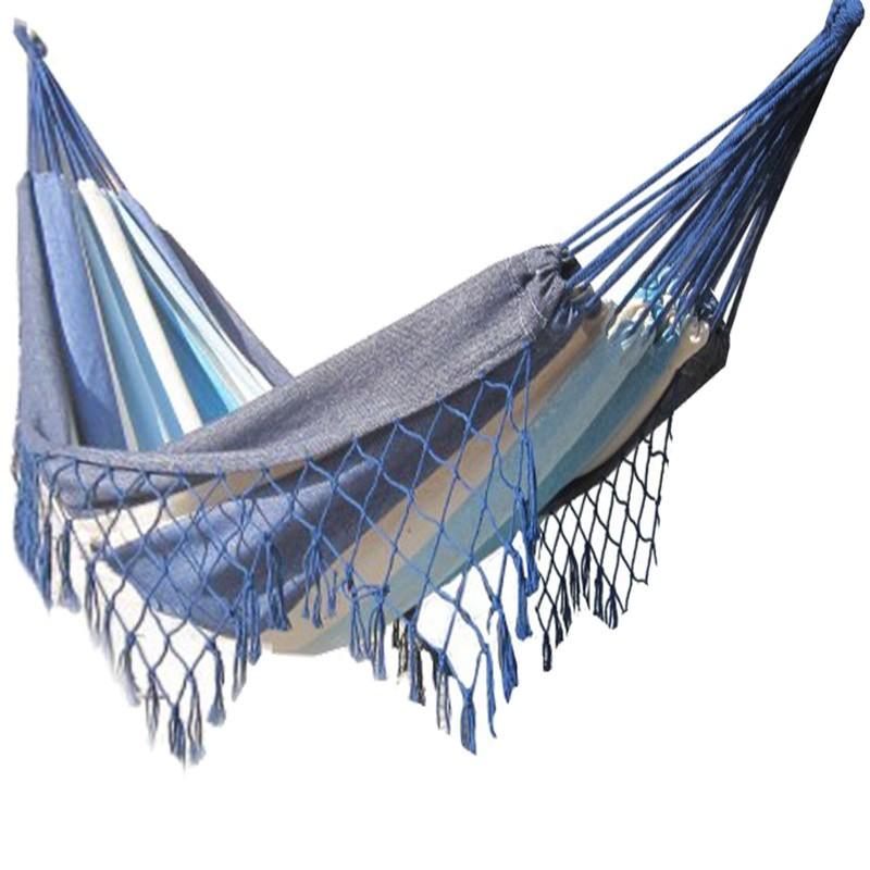 hamac 2 places avec franges bleu