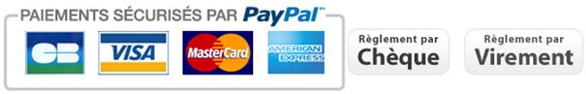 Paiement par Visa, Mastercard, PayPal, Cheque, Virement bancaire